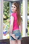 Wiry coed in jeans strings Lara Brookes erotic dancing and expanding her legs