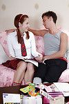 Lustful coed in striped socks attains anally crashed and takes cock juice on her tongue