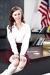 Solo gal Anya Olsen baring infant schoolgirl cage of love in socks and uniform