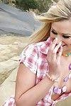 Elegant infant girl Heather Starlet exposing her fabulous bazookas and hairless gentile