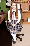 Infant hottie in knee high sports socks baring huge accustomed schoolgirl bazookas
