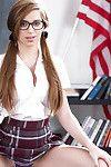 Amateur dear Joseline Kelly revealing schoolgirl cunt in pigtails and glasses
