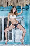 Youthful bikini pattern Jeff Milton unveiling untamed smooth head gentile outdoors