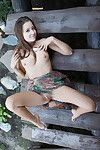 Infant European glamour angel Taissia A stretching her moist uterus outdoors