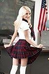 Youthful pornstar Piper Perri flashing smooth head twat lower schoolgirl short skirt