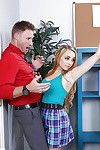 Adolescent schoolgirl Lolo Punzel takes her clothes off her educator for love making act in classroom