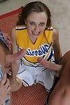 Twatty cheerleader obtains glazed with goo afterwards a avid FMM two men plus one female