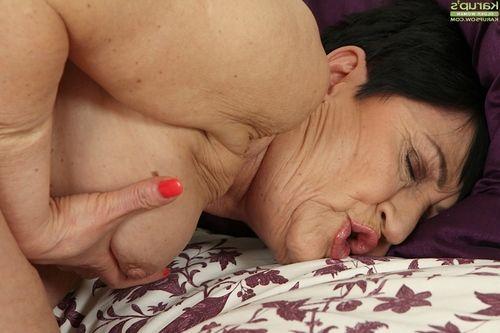 Granny woman Karoline fondling all regular love bubbles at the same time as masturbation