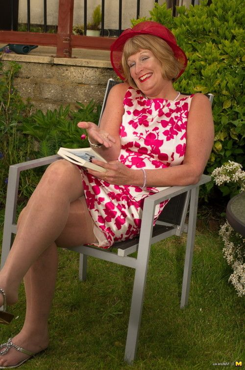 Passionate british melodious lady playing in the garden