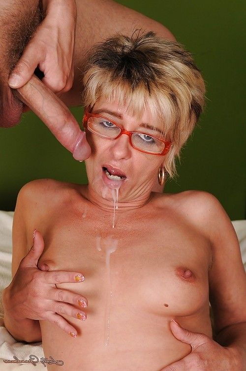 Lustful ripened in glasses and  acquires drilled for a jizz flow in her throat