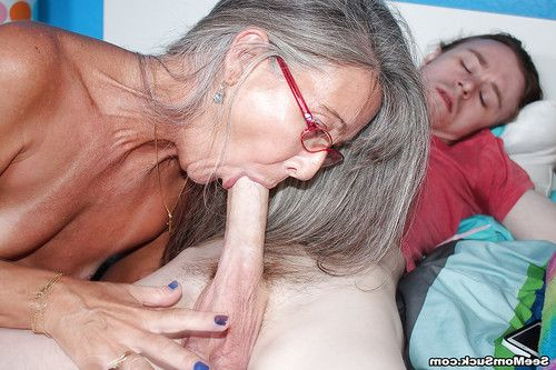 Grey haired ready woman gives a younger stallion a cock stroking this guy won