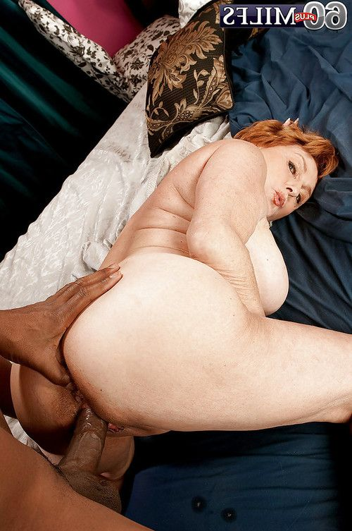 Interracial hardcore copulation with sexually aroused redheaded grandpa in white panties