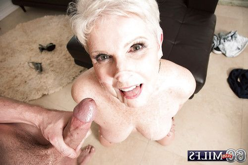 Short haired grandpa gives biggest ramrod a oral sex and takes ejaculation on face