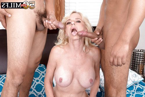 Tattooed elderly golden-haired Cammille Austin heavenly cumshots on permeated tongue