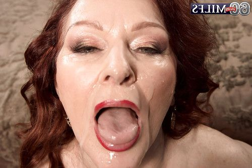 European redheaded elderly Katherine Merlot giving oral sex in underclothes