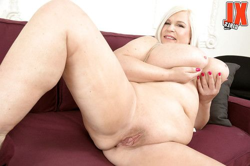 Fairy-haired European BBW Samantha Sanders exposing large knockers and large wazoo