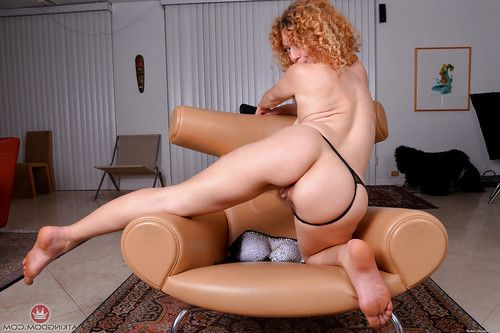 Grandpa redhead Leona expanding furry pink gentile exactly after slipping belt off waste