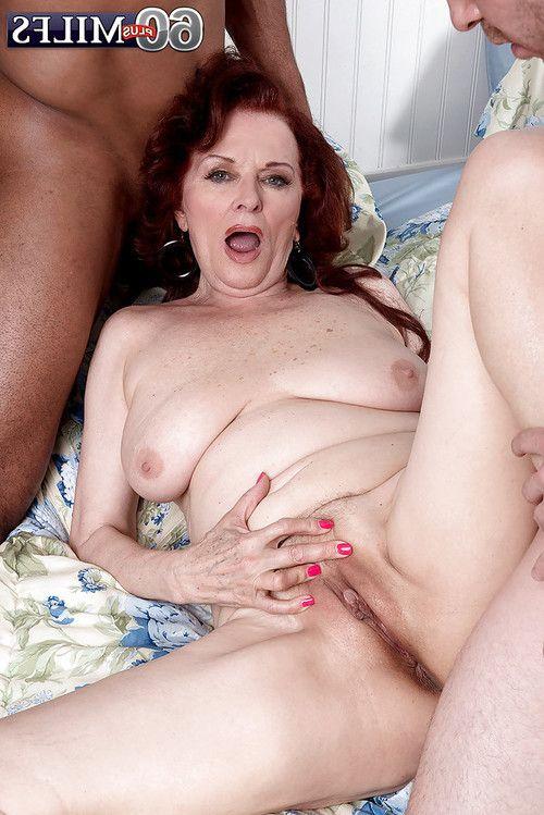 Overweight Euro full-grown Katherine Merlot enjoying interracial MMF Male+Male+Female love making act