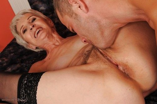 Short haired grown up in nylons gives a fellatio and benefits from shagged