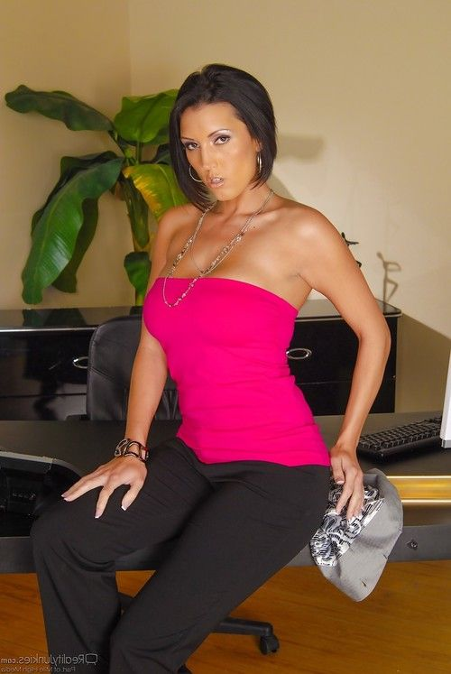Hot ripe Latin hottie Dylan Ryder utterly covered in clammy office seduction