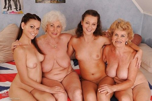 Dirty-minded 19 lesbian babes perform foursome posing scene with excited grannies