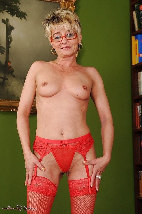 Nasty established in glasses jolly off her sexy pants and widening her legs
