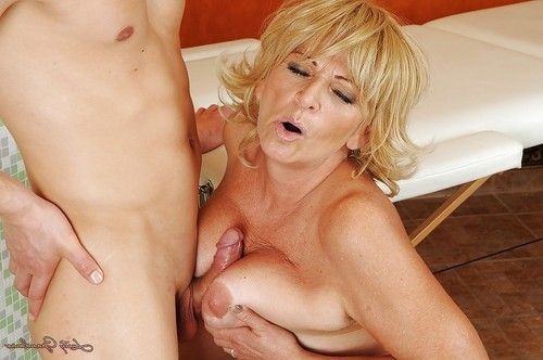 Boobsy blond garnny attains shagged hard and takes a ejaculation on her saggy apples