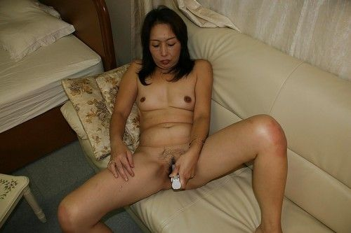 Lustful Japanese elderly Masae Funakoshi striptease and playing with marital-devices