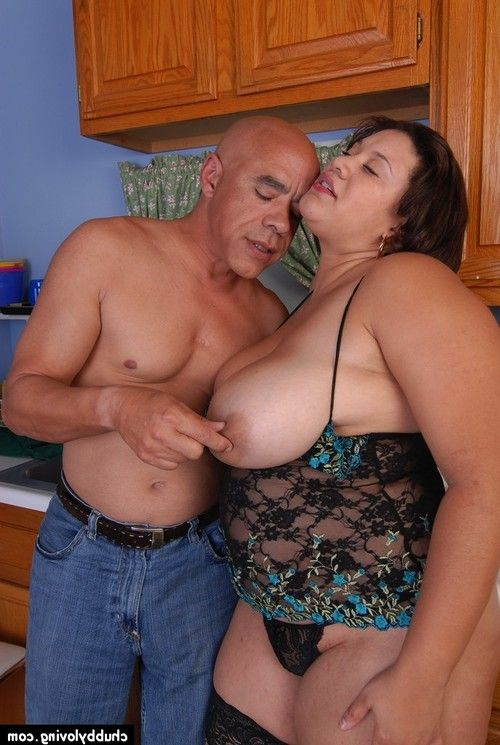 Aged BBW Monet having mammoth mangos and nipps licked in kitchen