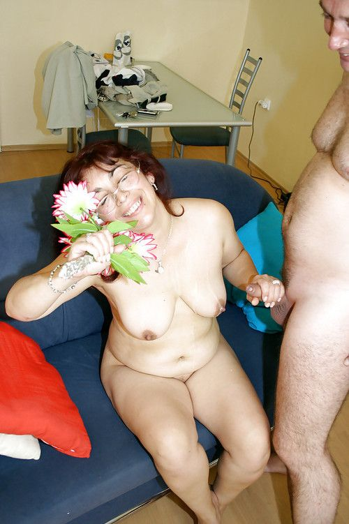 Lecherous ripened in glasses accepts shagged for spunk on her vast saggy jugs
