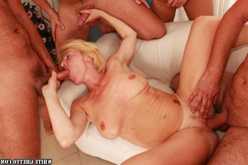 Lustful adult acquires owned hardcore and facialized by four dudes