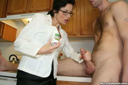 Bawdy melodious dark hair in glasses acquires a facial  later a fellatio