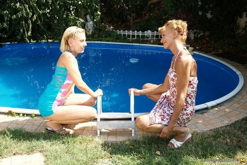 2 old and juvenile lesbos making out at the pool