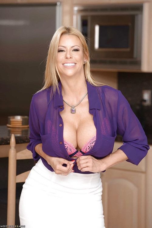 Ripe golden-haired wife Alexis Fawx revealing huge juggs during undressing