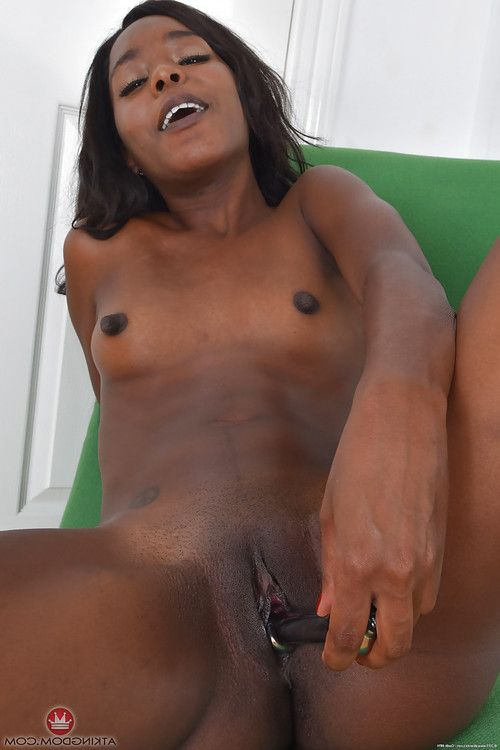 Ripe brown woman toys and masturbates hairless brown slit later undressing
