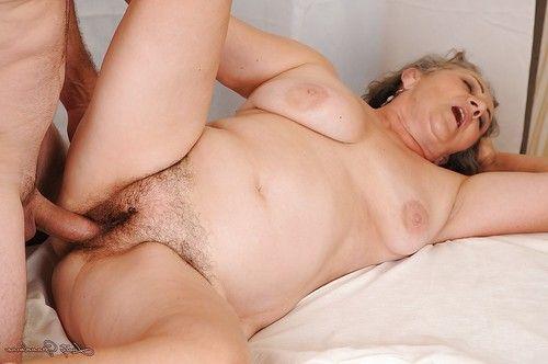 Fatty aged enjoys raw twatting and gains her bush glazed with ball batter