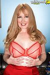 Redhead full-grown lady in extreme red stocking