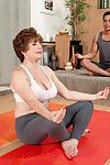 Rounded sexually excited aged bea cummins having a tense ramrod at her yoga c