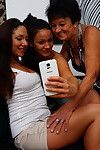 Triple old and youthful lesbian cuties make out