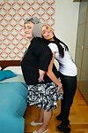 Perspired hottie seducing a bawdy bbw elderly lesbo