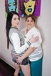 Bawdy old and teen lesbo duo playing
