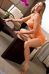 Anilos lass shows her unfit drenched love button as this babe expands her bawdy cleft wide