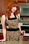 Sweaty housewife amber dawn sex tool digs she is on the kitchen tabl