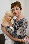 Bawdy old and youthful girl-on-girl twosome making out