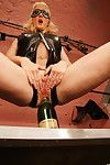 Excited golden-haired housewife getting fisted by a clammy dear