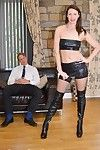 Dark hair milf lara latex in boots blow and crossing a mammoth cock ha