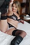 Blond full-grown cougar showing her sticky body