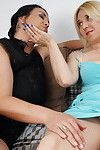 Triple appealing housewives disappear whole on lesbo