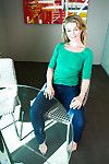 Barefoot non exposed elderly fairy-haired playing with dick later jeans removal