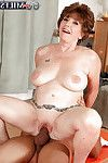 Mammoth boobed aged Bea Cummins riding weenie cowgirl style whereas hardcore love making act
